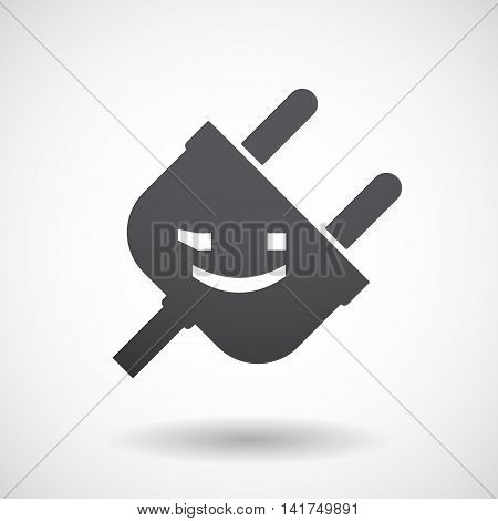 Isolated Male Plug With  A Wink Text Face Emoticon