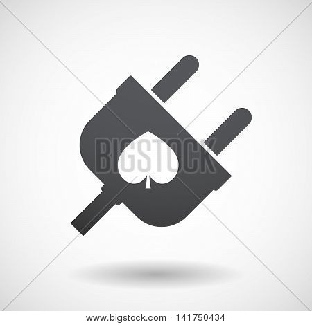 Isolated Male Plug With  The  Spade  Poker Playing Card Sign
