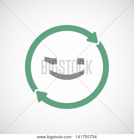 Isolated Reuse Icon With  A Wink Text Face Emoticon