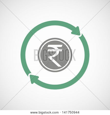 Isolated Reuse Icon With  A Rupee Coin Icon