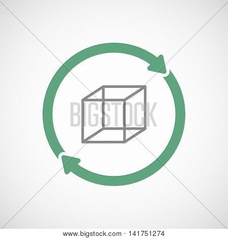 Isolated Reuse Icon With  A Cube Sign