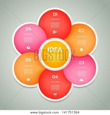 Vector pink and red  circle infographic. Template for diagram graph presentation and chart. Business concept with 6 cyclic options parts steps or processes. Abstract background.