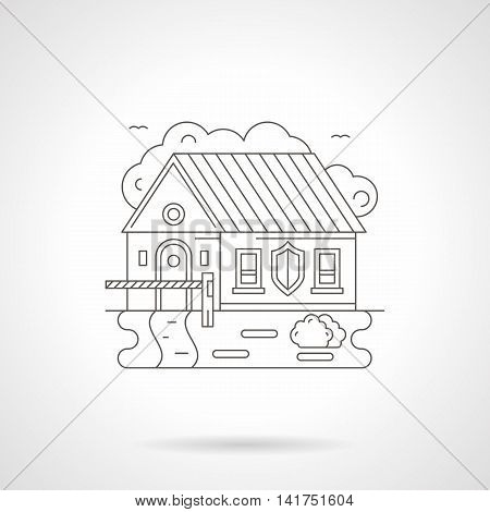 House with barrier and shield sign on a wall. Limited access to private or industrial facility. Object under protection, security services. Detailed flat line vector icon. Web design element.