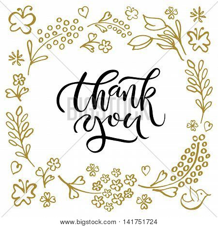 Hand Sketched Thank You Text As Logotype, Badge And Icon. Thanksgiving Day Card