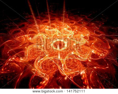 Fiery glowing lava in hell computer generated abstract background