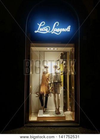 FLORENCE ITALY - CIRCA JULY 2016: Luisa Spagnoli brand store window