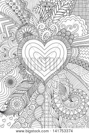 Zendoodle design of heart shape on abstract line art background design for background,wedding card,design element and adult coloring book for anti stress - Stock Vector