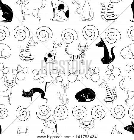 Seamless pattern with funny hand drawn cats. Vector illustration with different kittens. Nice background for your fabric textile design wrapping paper