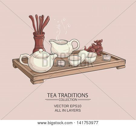Tea table with teapot tea bowls tea jug and tea tools