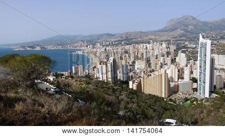 The view of the Spanish town Benidorm