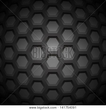 Abstract Carbon Nanostructure. Vector illustration. Hexagonal Pieces. Monochrome Molecular Scientific Background.