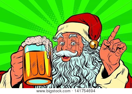 Santa Claus with beer, pop art retro vector illustration. Holidays New year and Christmas. Pub or restaurant