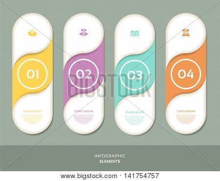Four steps for infographics options. Four vertical numbered banners.