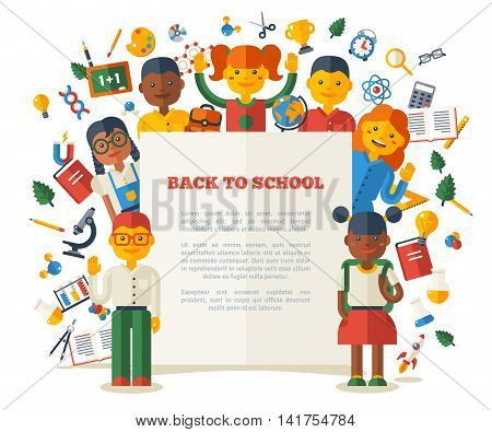 Funny Kids Show Paper Sheet with Place for Text. Vector Illustration. Back to School Concept Poster. Education and Science Flat Icons. Children Friendship.