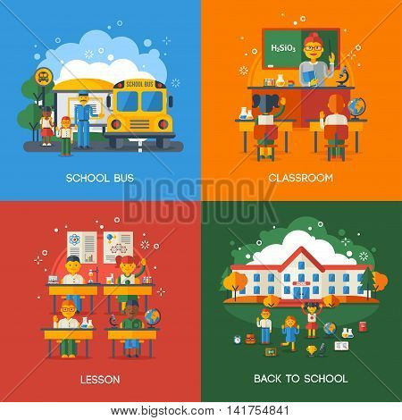 Back to School Flat Style Concept Set. Vector Illustration. Bus Stop, Classroom and Lesson, Teacher with Pupils. Funny Kids Characters