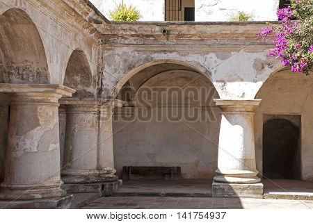 Massive columns and arches in the Church and Convent of Capuchins Antigua Guatemala