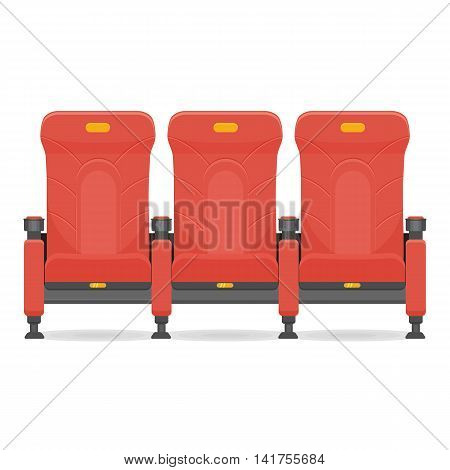 red comfortable realistic cinema seat fvector illustration isolated on a white background