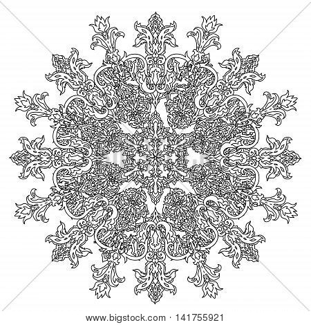 Contoured snowflakes in shaped of mandala for adult coloring book or art therapy style zen drawing. Hand-drawn, stylish doodle in tatto style, for coloring book or fabric design and cards in vector.