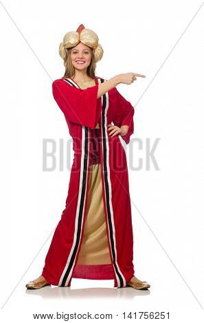 Woman wizard in red clothing isolated on white