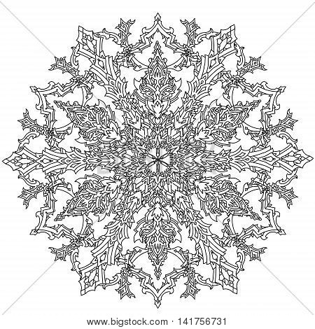Contoured mandala shaped snowflakes for adult coloring book or art therapy style zen drawing. Hand-drawn, stylish doodle in tatto style, for coloring book or fabric design and cards in vector.