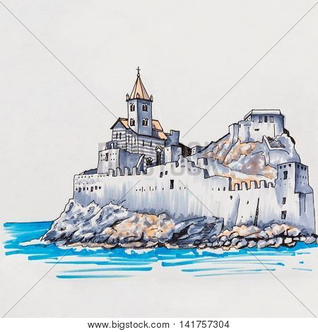 Gothic Church of St Peter in Porto Venere, La Spezia, Liguria, Italy. Picture made markers