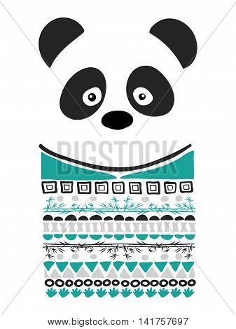 Panda Art Geomertric Print. Animal Illustration for textile, t-shirt, card,  or Children Room decor. Vector.