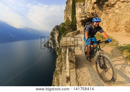 Mountain biking on Lake Garda, Sentiero della Ponale, Riva del Garda, Italy