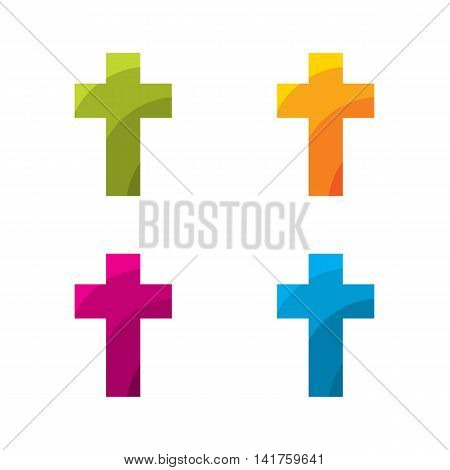 Colored cross set on a white background