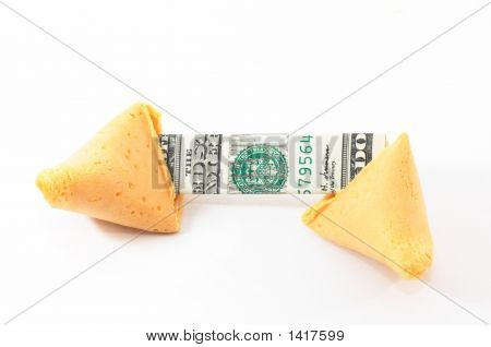 Chinese Fortune Cookie Open With Money, Cash, White Background