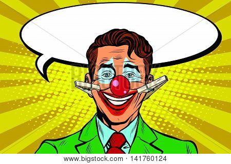 Clown face smile on clothespins, pop art retro vector illustration. Circus artist. Hypocritical joy