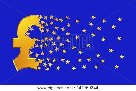 Pound Sterling Sign Falling Apart To Gold Stars Over Blue Background.. 3D Illustration.