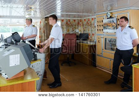 VOLGA RIVER RUSSIA - JULY 19 2016: Captain of river cruise ship