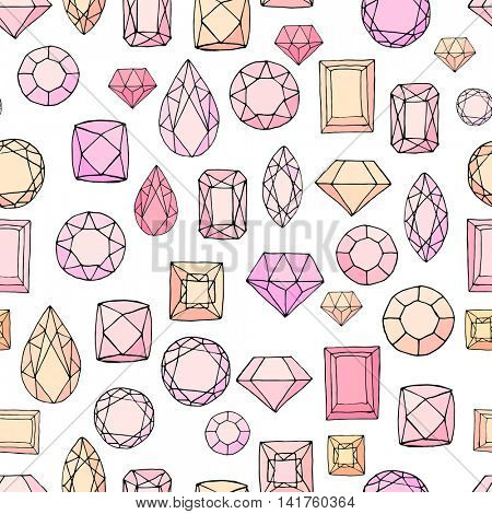 Seamless pattern with diamonds, jem stones,jewellery. Endless texture, white, yellow and pink color.