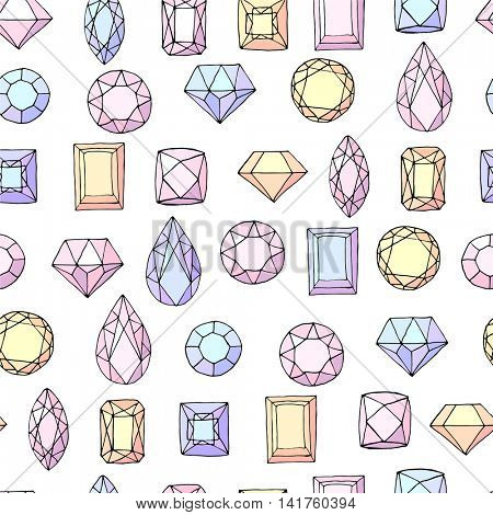 Seamless pattern with diamonds, gem stones,jewellery. Endless texture, white, yellow,blue and pink color.