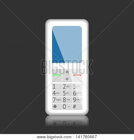 Mobile phone with keypad, vector graphic illustration