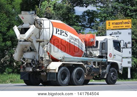 CHIANGMAI THAILAND -JULY 27 2016: Cement truck of PPS Concrete company. On road no.1001 8 km from Chiangmai Business Area.