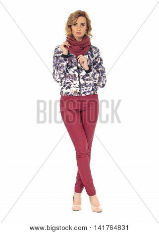 Beautiful woman in mixed winter coat isolated