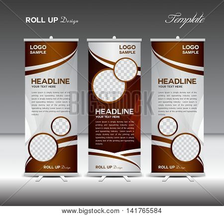 Black and white Roll Up Banner template vector illustration, coffee roll up stand, coffee banner design, advertisement, display, flyer design