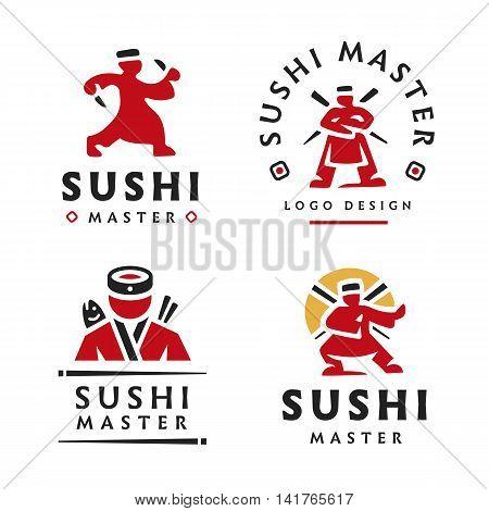 Master Sushi Logo illustration on the white background