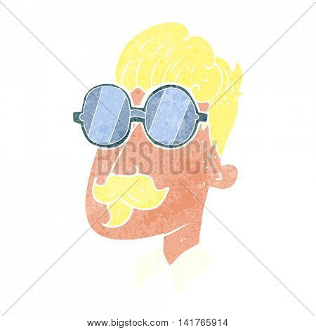 freehand retro cartoon man with mustache and spectacles