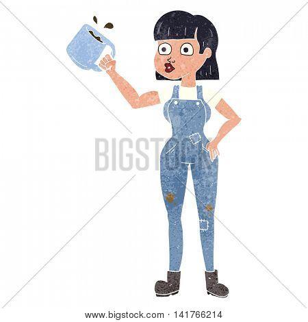 freehand retro cartoon female worker with coffee mug