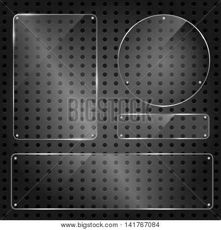 Set of glossy shiny glass banner panels on metal dotted background. Glossy blank transparent plates for your design.Technology concept. Vector illustration.