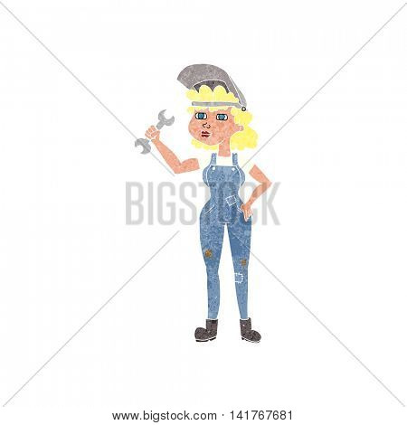 freehand retro cartoon woman with spanner