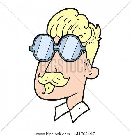 freehand drawn cartoon man with mustache and spectacles