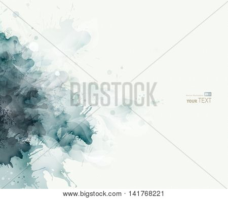 Blue-gray watercolor big blot spread to the light background. Abstract composition for the elegant design.