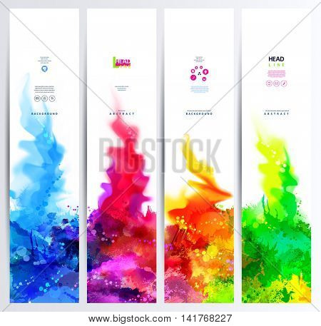 Set of four banners, abstract headers with colored blots. Bright spots and blur go up.