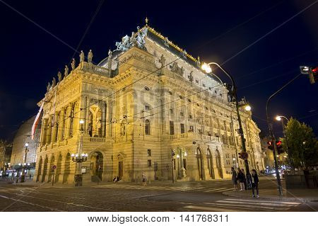PRAGUE, CZECH REPUBLIC, JULY 5,2016: External night shot of he National Theatre ( Narodn divadlo) known as the alma mater of Czech opera, and as the national monument of Czech history and art.
