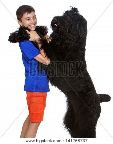 Big black dog put paws on the shoulders of its owner-Isolated on white background