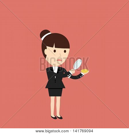 Businesswoman considers coin through a magnifying glass. The concept of a small profit. Vector illustration.