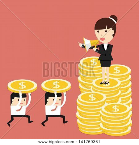 Business situation. Businesswoman standing on a pile of coins and commanding into a megaphone. Employees run work. Vector illustration.